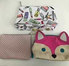 Lot of 3 Make Up Bags Small Clinique Aerie Pouch Travel Z28