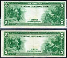 FR-859a 1914 $5 FRN **About Uncirculated** (( 2 Consecutive )) 7157 & 7158