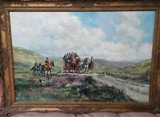 "RARE ORIGINAL GORDON KING  ""London to Bath Stagecoach"" Horse horses OIL PAINTING"