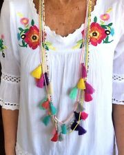 Multi Tassel Necklace 5 X Necklaces Mexican Fiesta Party Beach Resort Wear