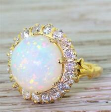 RETRO 5.00ct WHITE OPAL & 1.36 OLD CUT DIAMOND COCKTAIL RING - 18k Gold - c 1940