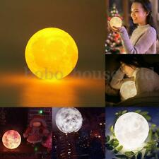 4'' Moon 3D LED Night Light Bulb USB Rechargeable Table Desk Lamp Decor with Box