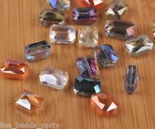 10pcs 12mm Rectangle Square Faceted  Majhong Crystal Glass Beads Charm Mixed