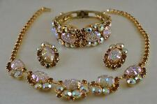 SPECTACULAR! Vtg JULIANA Pressed Glass AB Rhinestone Necklace Bracelet Earrings!