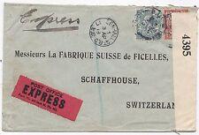 * 1918 W F Malcolm Perfin Cubierta enviado Express LONDRES a Schaffhouse Suiza