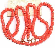 VINTAGE NATURAL 3.5mm PINK CORAL Disc Bead 9K Gold CLASP FINE KNOTTED NECKLACE