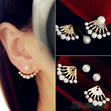 Fashion Jewellery Gold Plated Front & Back Pearl Earring Earbobs Ear Clips Studs