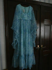 Vintage 1970s Floral Print Sheer Nylon Maxi Floaty Dress Boho  Size 12 BERKERTEX