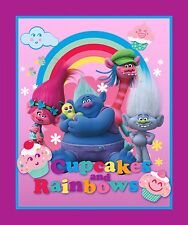 """New Trolls Cupcakes & Rainbows Characters 100% cotton 43"""" Fabric by the panel"""