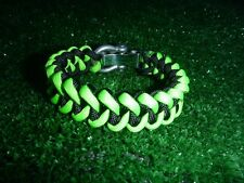 Black/Neon Green Adjustable Paracord Bracelet w SS shackle, Shark Jaw Bone Weave