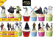 48 STAR WARS The Force Awakens Cup Cake Edible Wafer Rice Toppers STAND UP 5CM