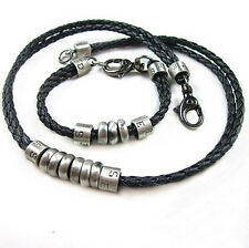 Mens Charm Choker Silver Rings Pendant Genuine Leather Necklace & Bracelet Set