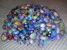 100 Silver Single Core Murano Glass Lampwork Beads Fit European Charm Bracelet