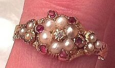 GEORGIAN Diamond, Pearl, RUBY 14k GOLD RING EARLY 1800s, size 6.25 EXC. COND.
