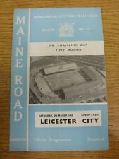 05/03/1966 Manchester City v Leicester City [FA Cup] (Token removed, folded). Th