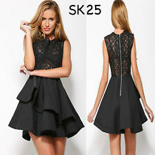 Sz 10 12 Black Skater Lace Sleeveless Formal Gown Cocktail Party Sexy Chic Dress