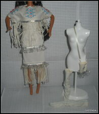 OUTFIT BARBIE DOLL NATIVE AMERICAN INDIAN BEADED FRINGE FAUX LEATHER MOCCASINS