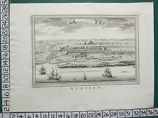 c1750 GEORGIAN PRINT ~ ACHEM AXIM VIEW FROM SEA PORT TOWN WEST AFRICA ~