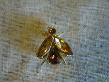 Vintage Brown & Amber Color Stone Bug Flying Insect Pin Brooch 491530