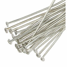 250 SILVER PLATED headpins piatto 40mm METAL HEAD PIN gioielli rendendo risultati