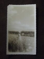YOUNG GIRL WEARING A BONNET PLAYING IN A FIELD OF FLOWERS Vintage 1940 PHOTO #2