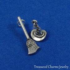 Silver Witch Hat and Broom Charm - Wicked Witch Halloween Pendant NEW