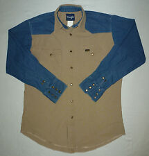 Wrangler Men's L/S Vtg 80's Denim/Canvas Western Shirt Sz Large Tall Metal Snaps