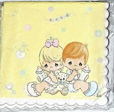 NEW~PRECIOUS MOMENTS~ PINK OR BLUE  16 DESSERT NAPKIN   BABY SHOWER
