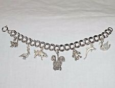 Vintage Sterling BIRD & BEAST ANIMAL THEME Double Link Charm Bracelet - NOS