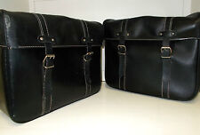 Pair of Large Vinyl Vintage French Moped Bike Bags, Metal Backed Solex Paniers