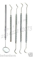 Dental Scaler Pick Carbon Steel Tools with Inspection Mirror Set 5 Pieces