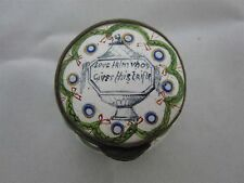 """ANTIQUE ENAMEL ON COPPER TRINKET BOX """"LOVE FRIM VHOS GIVES THIS TRIFLE"""""""