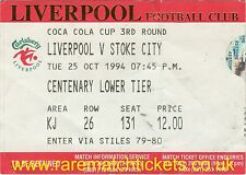 original 1994-95 league cup 3rd round LIVERPOOL (winners) STOKE CITY ticket