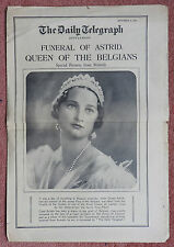 FUNERAL OF QUEEN ASTRID OF BELGIUM - THE DAILY TELEGRAPH NEWSPAPER - 4.9.1935