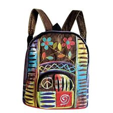Peace Sign and Flowers PATCHWORK Boho Bohemian Hippie Gypsy BACKPACK Bag Purse