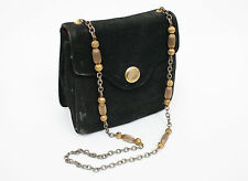 1950s Vintage Black Suede Purse Handbag Chain Art Deco TRIANGLE New York 50s 40s