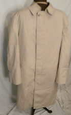 London Fog Rain Trench Coat Jacket Mens 38 Short Tan Zip Out Fur Lining Vintage