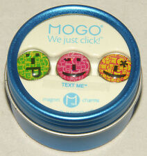 MOGO - Magnetic CHARMS - TEXT ME Faces - TIN Collection SET of 3 - *BRAND NEW!