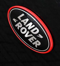 Black & Silver Land Rover oval Badge & Red frame/plinth for Range Rover L322