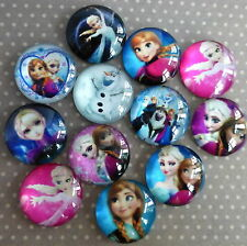 10 pcs Glass Domed Round Cabochons mix Frozen, size 20mm