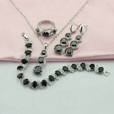Black Sapphire 925 Sterling Silver Jewellery Set Necklace Earrings Bracelet