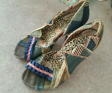 LADIES IRREGULAR CHOICE DENIM PEEPTOE PATCHWORK HEELS SIZE 4 /37