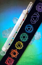 """HUGE 7"""" SELENITE CRYSTAL WAND WITH SILVER,CHAKRA STONES AND REIKI SYMBOL POUCH"""