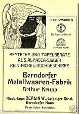 Berndorfer Metallwaren Fabrik Krupp Berlin Reklame 1912 Engel Metall Berndorf ad