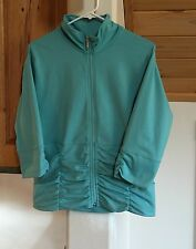 Lucy active wear knit zipper front 3/4 sleeve jacket turquoise size XL