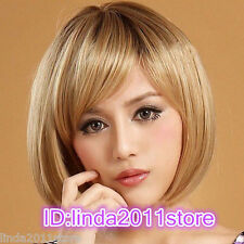 Latest New Short Dark Blonde Woman's Like real human hair Wig + wig cap
