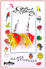 GLOBAL VILLAGE GLASS STUDIOS. RED & YELLOW GLASS TROPICAL ANGEL FISH EARRINGS.