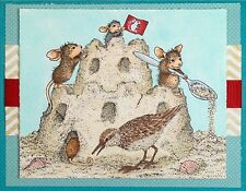 Sand Castle Mice HOUSE MOUSE Wood Mounted Rubber Stamp STAMPENDOUS, NEW - HMR65