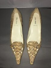 Miu Miu Snake Skin Shoes 40 Kitten Heel Nude Black