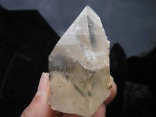 Tourmaline Inclusions in Quartz Crystal Citrine Point from Brazil